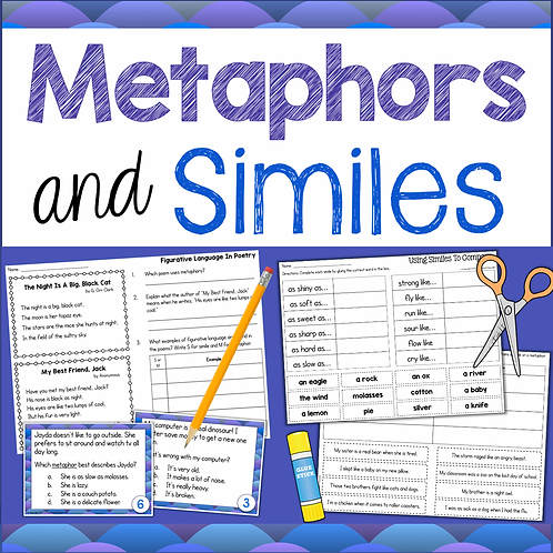 Similes and Metaphors - Figurative Language Task Cards & Worksheets