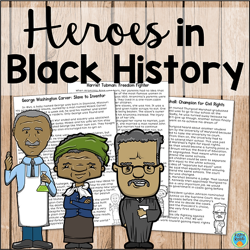 Black History Reading Comprehension: Harriet Tubman, Thurgood Marshall, Carver