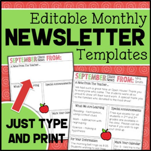 Editable Monthly Classroom Newsletter Templates for the Whole Year