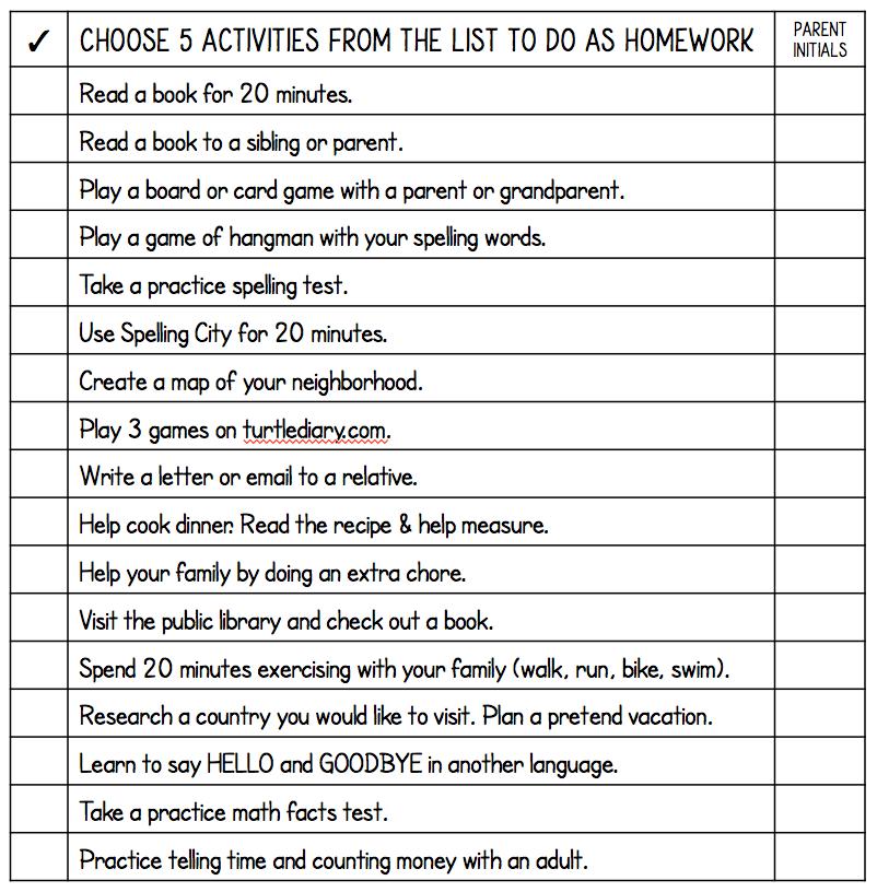 un-homework list