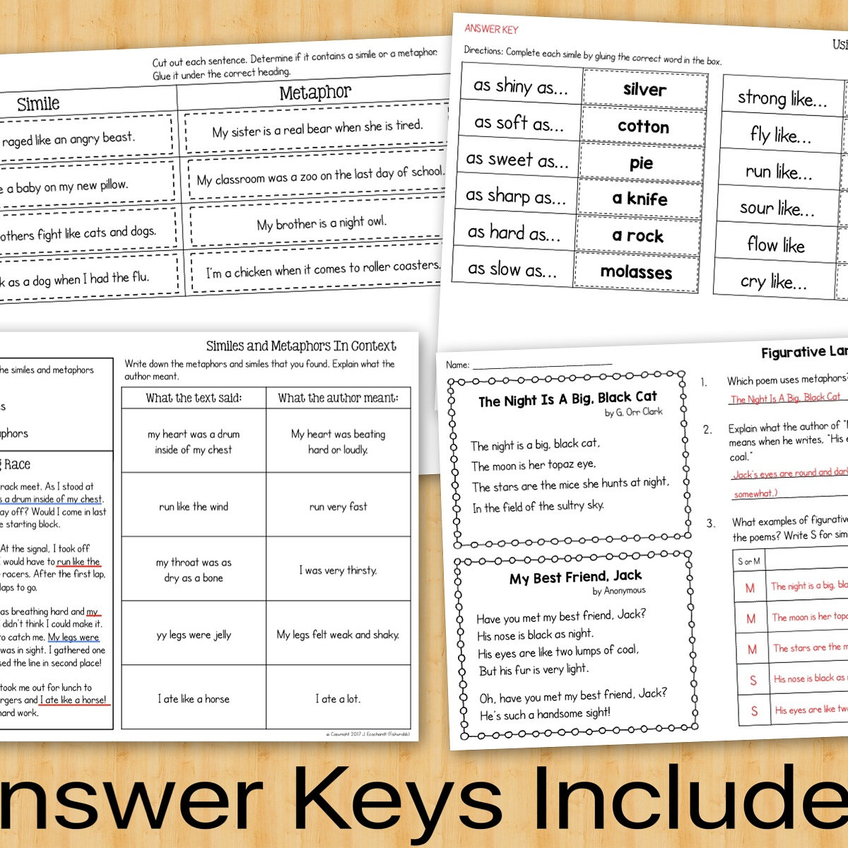 Similes And Metaphors Figurative Language Task Cards Worksheets