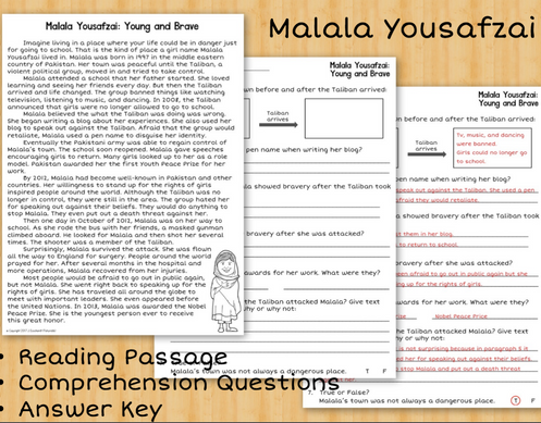 Women's History Comprehension: Malala Yousafzai, Susan B Anthony, Marie  Curie