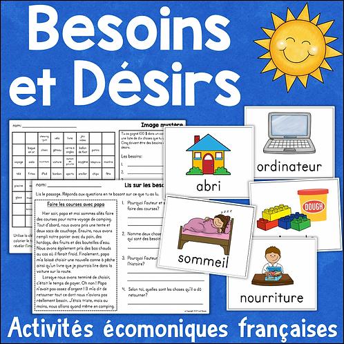 Les besoins et les désirs - activités études sociales FRENCH Needs & Wants