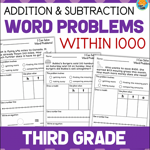 3rd Grade Word Problems - Addition and Subtraction within 1000