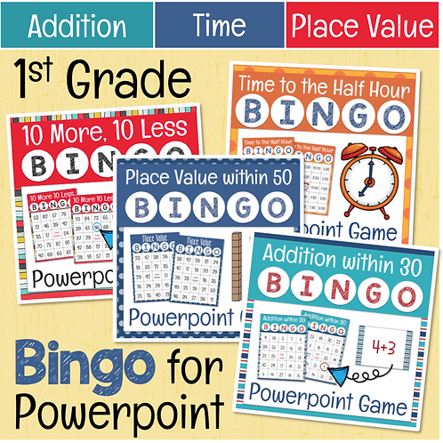 1st Grade Math Bingo Games for Powerpoint BUNDLE