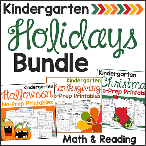Holiday No-Prep Printables for Kindergarten