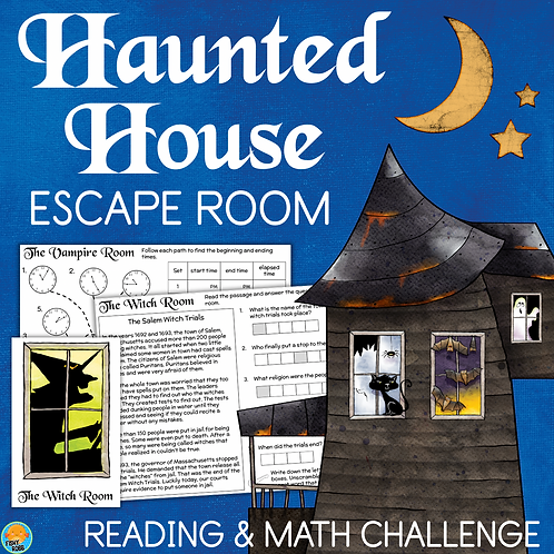 Haunted House Halloween ESCAPE ROOM 4th Grade Reading & Math