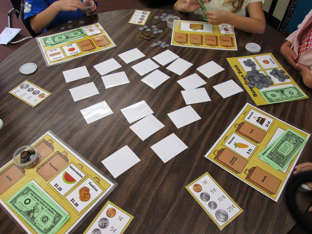 students playing math game called The Grocery Game