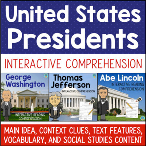 U.S. Presidents Interactive Reading BUNDLE Washington Lincoln Jefferson