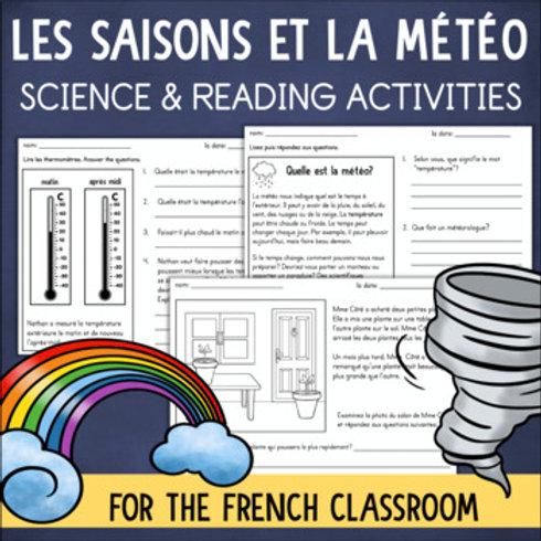 La météo et les saisons FRENCH Reading & Science Worksheets