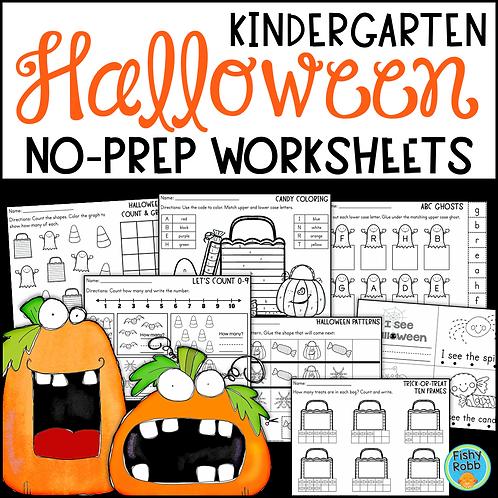 Halloween Math and Reading No-Prep Worksheets for Kindergarten