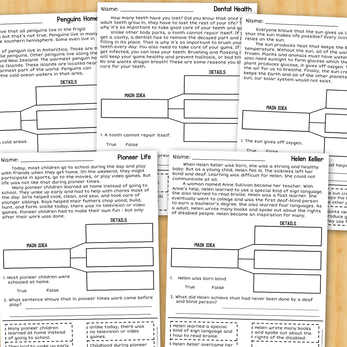 worksheet Main Idea Supporting Details Worksheet fishyrobb teaching ideas and resources identifying the main plenty of practice idea supporting details with this set no prep activities there are 3 different type