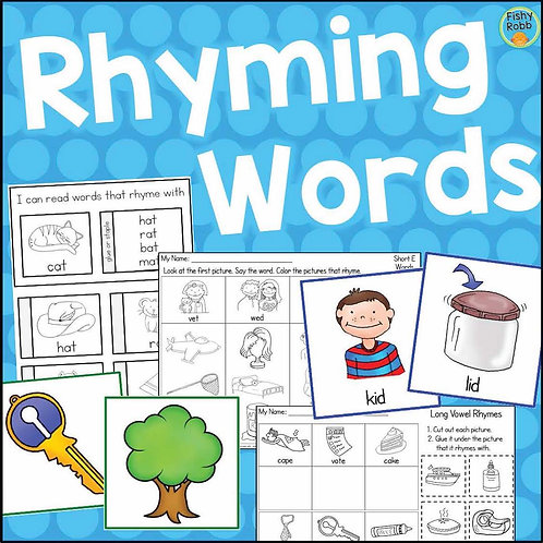 Rhyming Words Activities, Centers, & Worksheets for Kindergarten Reading