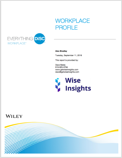 Image of the Everything DiSC Workplace profile assessment test report. Shows what the report cover will look like when someone takes the assessment.