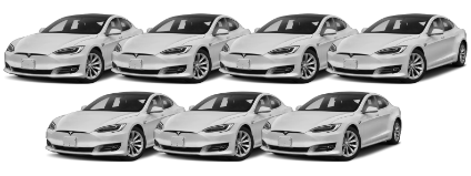 Picture showing 7 white Tesla model S sedans