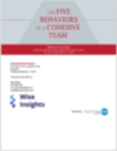 Image of the Five Behaviors of a Cohesive Team assessment test report. Shows what the report cover will look like when someone takes the assessment.
