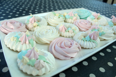 Meringues pastel rosace & licorne biscuits artisanaux Lovely Desserts