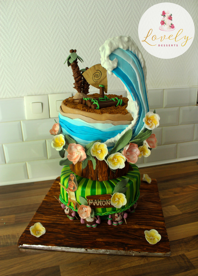 Gâteau personnalisé anniversaire enfant vaiana mer îles
