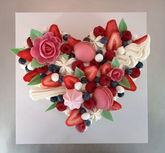 """""""Number Cake"""" forme coeur aux fruits rouges"""