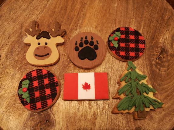 Biscuits décorés pour noël d'entreprise thème Canada