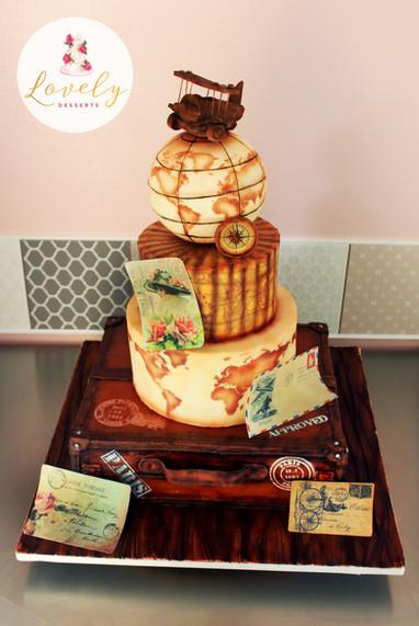 Wedding cake thème voyage vintage
