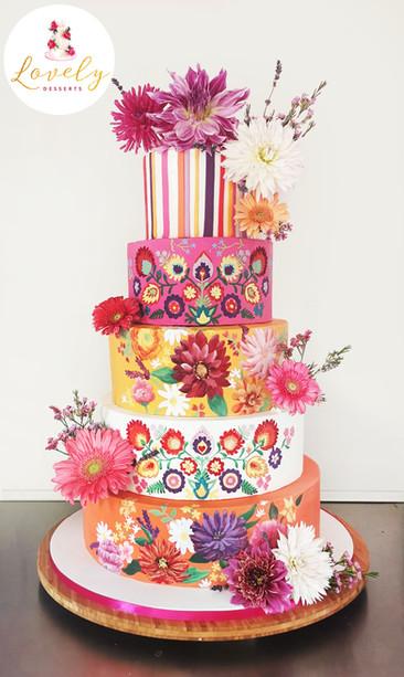 Wedding cake style mexicain  - bohème peint à la main