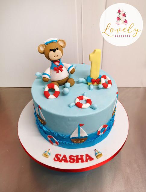 Gâteau décoré petit nounours / petit ours brin marin