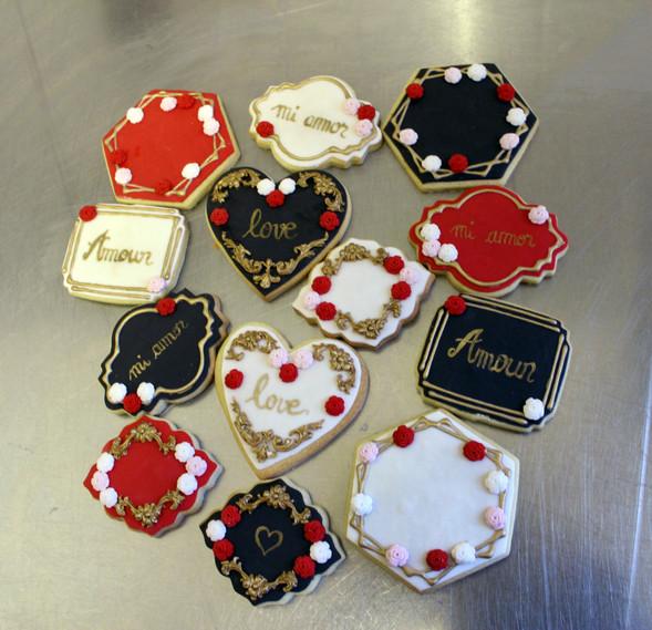 Biscuits décorés saint valentin love