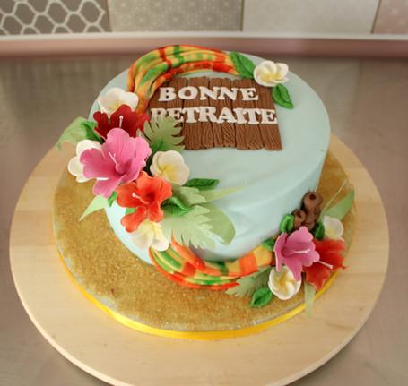 Gâteau départ en retraite thème Guadeloupe/Martinique/îles