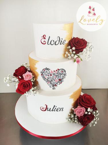 Wedding cake design personnalisé d'après invitation