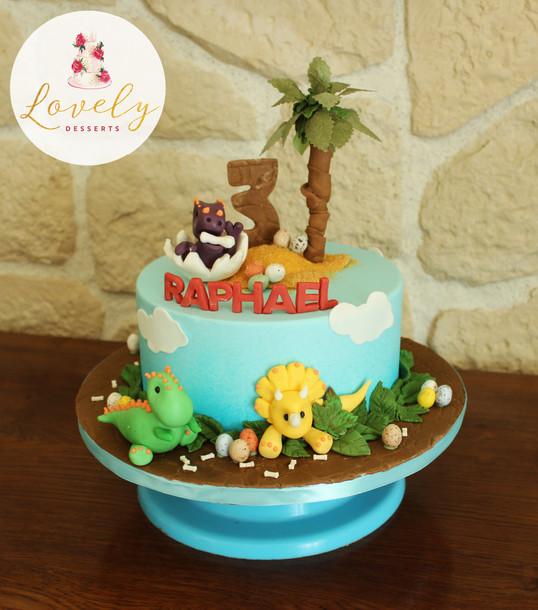 Gâteau d'anniversaire enfant thème dinosaure