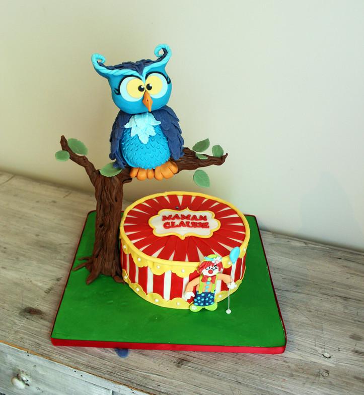 Gâteau pâte à sucre anniversaire thème chouette hibou & cirque clown
