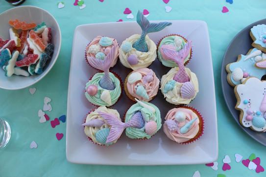 Cupcakes thème sirène mer anniversaire