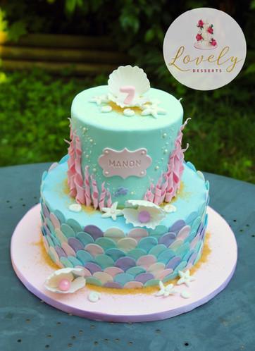 Gâteau personnalisé anniversaire enfant sirène coquillage mer