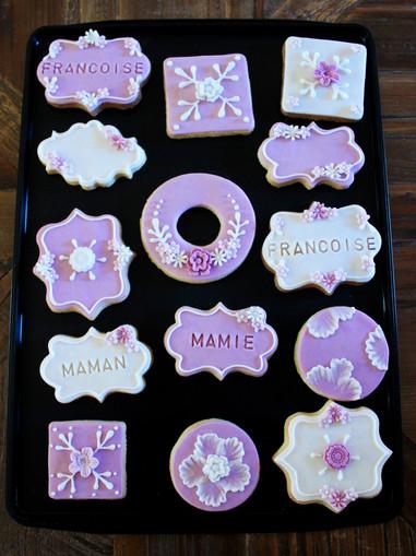 Biscuits décorés élégant fleurs & dentelle