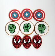 """Biscuits décorés """"Super-héros / Avengers"""" : Captain America, Hulk et Spider-man"""