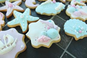 Biscuits décorés sirène mer coquillage