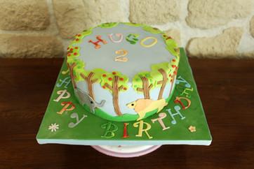 Gâteau pâte à sucre anniversaire enfant animaux