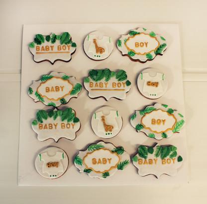 Biscuits décorés pour baby shower thème jungle chic
