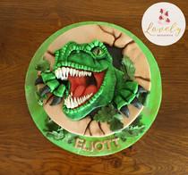 Gâteau décoré pâte à sucre anniversaire enfant thème dinosaure
