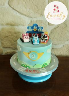 Gâteau décor pâte à sucre thème Robocar Poli