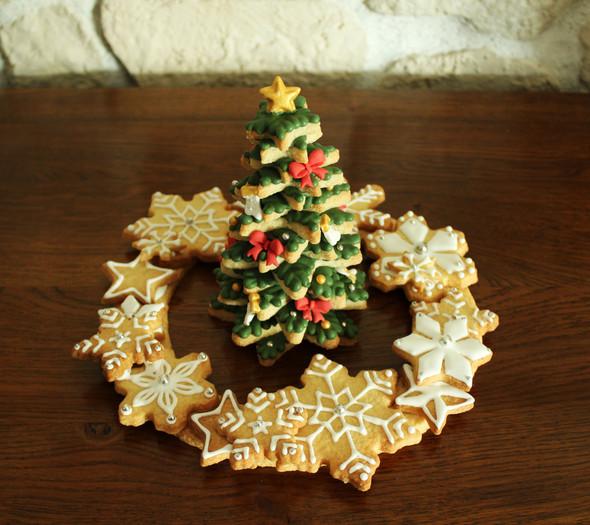 Couronne & sapin de Noël en biscuit