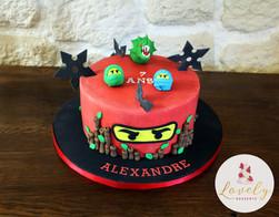 Gâteau décoré anniversaire enfant thème Ninjago