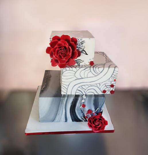 Wedding cake moderne gris & rouge