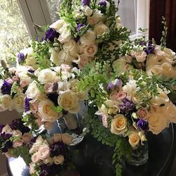 Loving this soft look, maidenhair fern, cream garden roses, blush spray roses, and deep purple frees