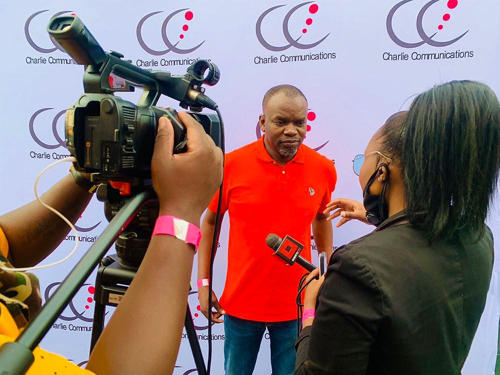 DJ Ganyani chatting to Soweto Tv , Kasi Vibes #BabizeBonke at the Charlie Communications listening session