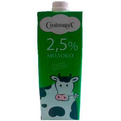 """Молоко ультрапастеризованное 2,5% """"Семенишна"""" 1л.»"""