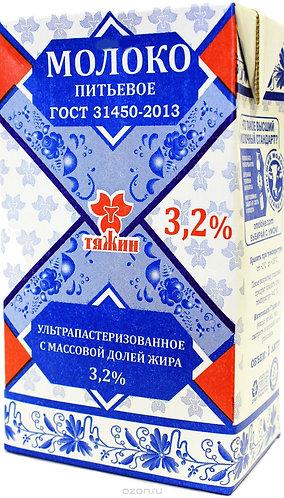Молоко ультрапастеризованное 3,2% «Тяжин» 1л.