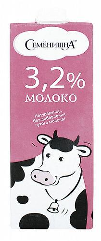 """Молоко ультрапастеризованное 3,2% """"Семенишна"""" 1л."""