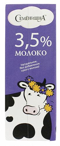 """Молоко ультрапастеризованное 3,5% """"Семенишна"""""""